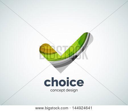 Vector choice concept, tick logo template, abstract business icon