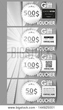 Set of modern gift voucher templates. Abstract lines background, simple abstract monochrome texture.