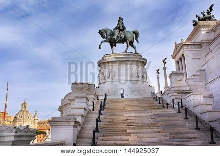 Altar of the Fatherland, also known as the National Monument to Victor Emmanuel II or Il Vittoriano, first king of a unified Italy in Rome, Italy