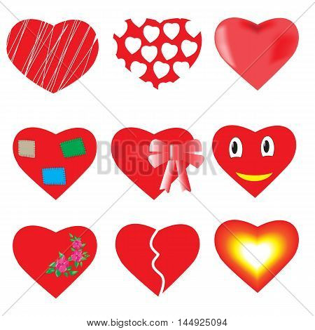 Set of 9 red hearts on a white background