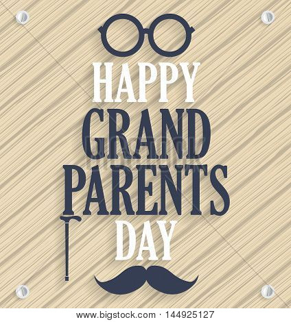 Grandparents day poster. Wooden background. Vector illustration.