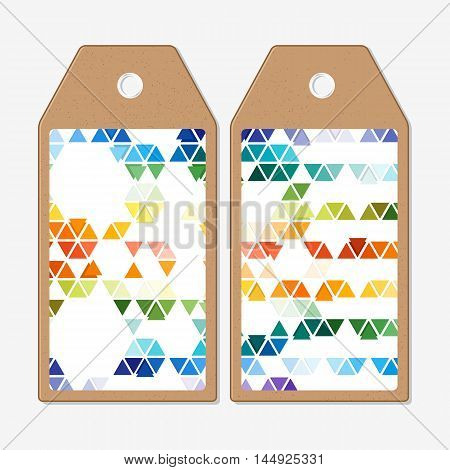 Vector tags design on both sides, cardboard sale labels. Abstract colorful business background, modern stylish hexagonal and triangle vector texture.