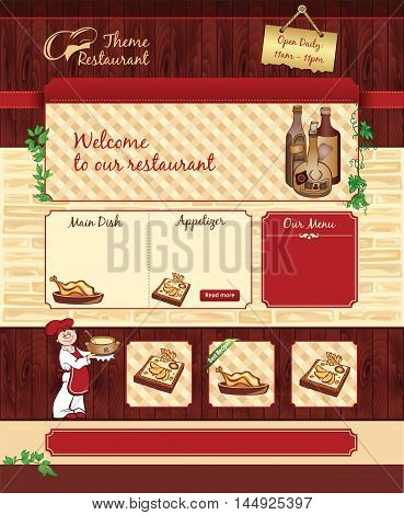 Vector web template for retro restaurant or cafe