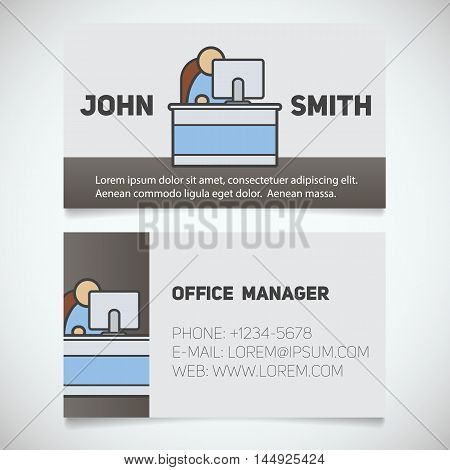 Business card print template with office manager logo. Easy edit. Programmer. System administrator. Stationery design concept. Vector illustration