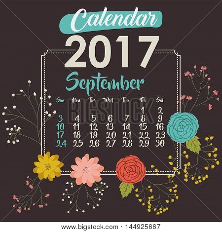 2017 september year calendar flowers floral garden planner month day icon. Colorful and Flat design. Vector illustration