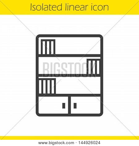 Bookcase linear icon. Thin line illustration. Bookshelf contour symbol. Vector isolated outline drawing