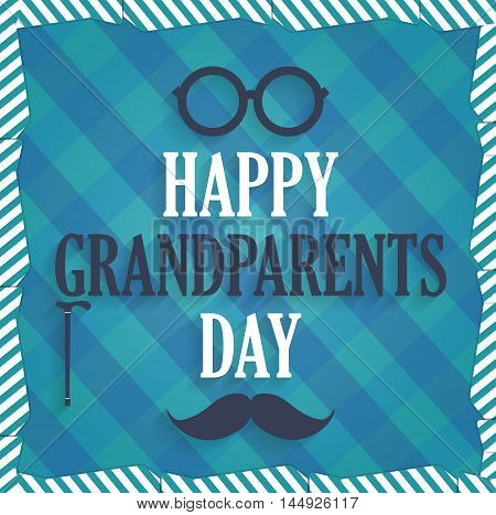 Grandparents Day poster with walking stick, mustache and glasses. Cloth background. Vector illustration