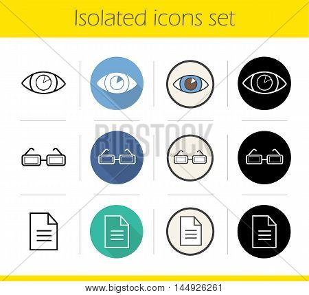 Ophthalmology icons set. Flat design, linear, black and color styles. Human's eye, contact lens, eyeglasses prescription. Optometry. Isolated vector illustrations