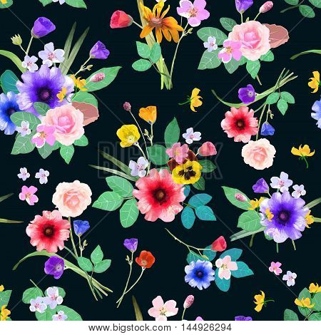 Vector illustration of floral seamless. Hand drawn beautiful colorful flowers. Isolated bouquets on black background.