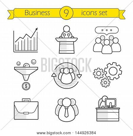 Business concepts linear icon set. Team communication, sales funnel, office worker, conference speaker podium, growth chart, briefcase, teamwork and leadership. Thin line. Isolated vector illustration