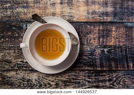 Cup Of Tea On Wooden Vintage Background