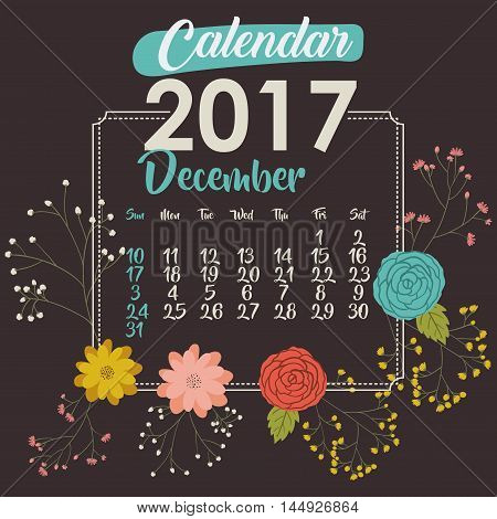 2017 december year calendar flowers floral garden planner month day icon. Colorful and Flat design. Vector illustration