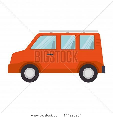 tourism van auto transport vehicle bus minibus cartoon vector illustration