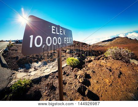 Elevation Sign at the Summit of Haleakala, Maui, Color Image