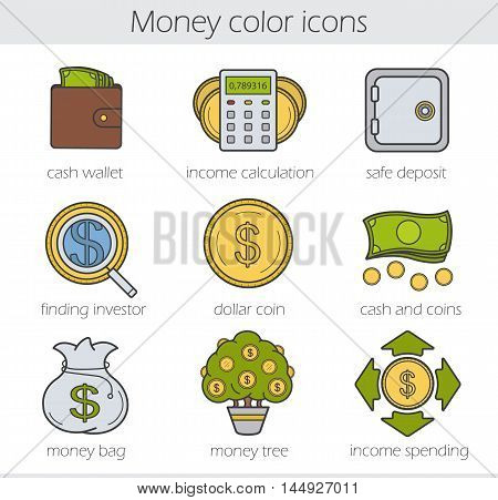 Banking and finance color icons set. Purse with cash, money spending calculations, investor search, dollar coin and bills stack, bank vault, money bag and tree. Vector isolated illustrations