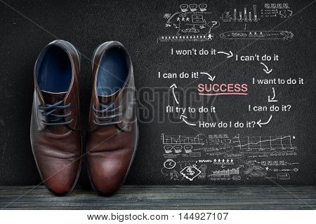 Success scheme text on black board and business shoes on wooden floor