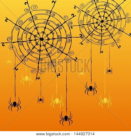 Decorative Spider Web And Spiders