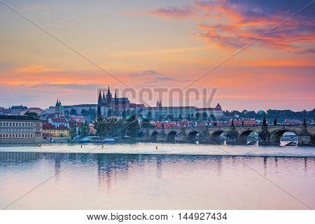 River Vltava Sunset Prague Czech Republic Europe