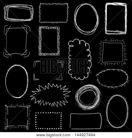 Collection Of Decorative White Hand Drawn Frames On Black Background. Simple, Grunge, Sketch And Doo