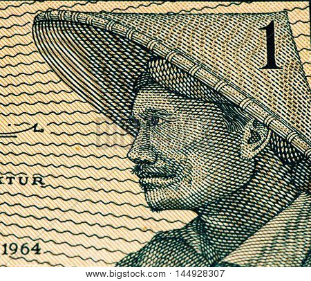 1 sen bank note. Sen is the former currency of Indonesia