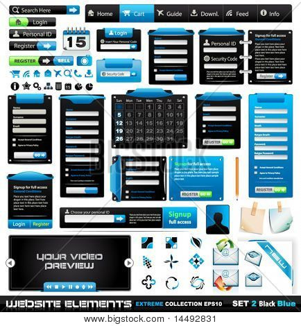 Web design elements extreme collection 2 BlackBlue - Many different form styles, frames, bars, icons, banners, login forms, buttons and so on!