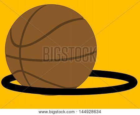 Basketball in isolation going through a hoop