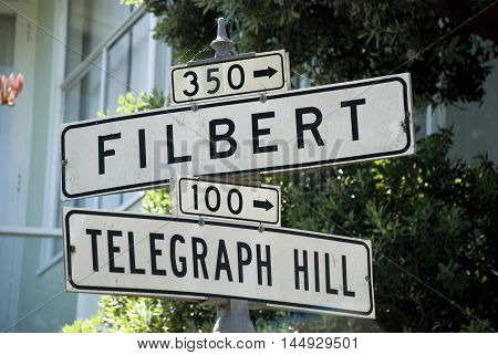 Filbert and Telegraph Hill street signs in San Francisco, California