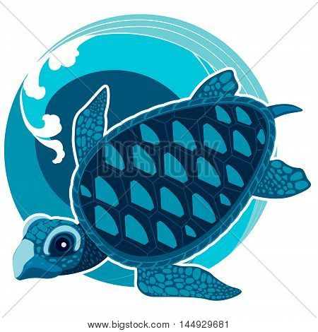 The turtle on the background of sea waves. The symbol of Feng Shui