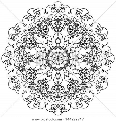 Mandala, circular ornament using the leaves, berries and flowers in the Oriental style