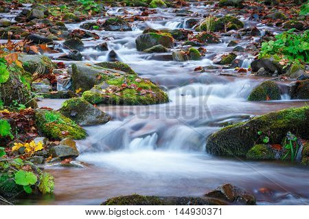blue water of mountain stream in autumn time. Nature background.