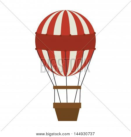 hot air balloon red stripes brown basket vector illustration