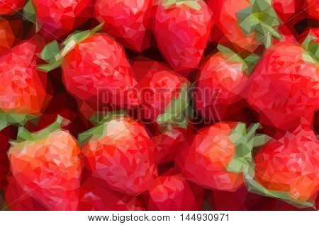 Low poly illustration ripe of fresh red strawberry background close up