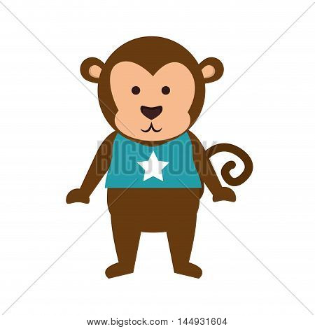 monkey animal wearing blue t shirt star cartoon vector illustration