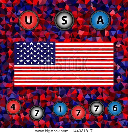 Independence Day (the Fourth of July) - multicolor low-poly vector background