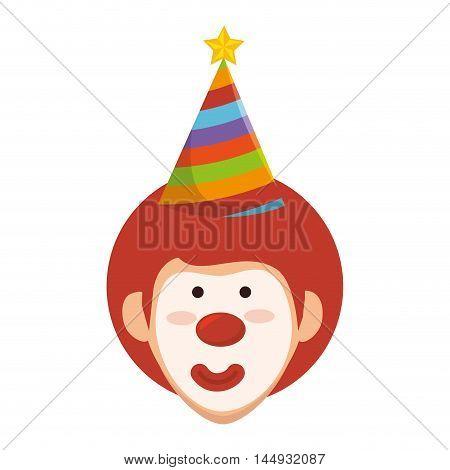 clown face smiling cartoon circus funny character vector illustration