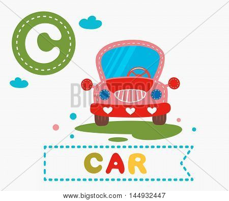 Hand Drawn Letter C And Funny Cute Car
