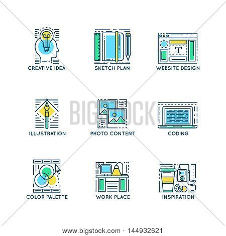Web design linear symbols with computer workplace color palette framework creative idea sketch plan isolated vector illustration