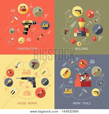 Work tools compositions or icon set with construction building house repair descriptions vector illustration