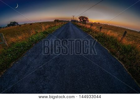The Road to the Farm, Fisheye, Landscape, Evening, Northern California, USA