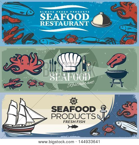 Three isolated colored seafood banner set with headlines about seafood restaurant and products vector illustration