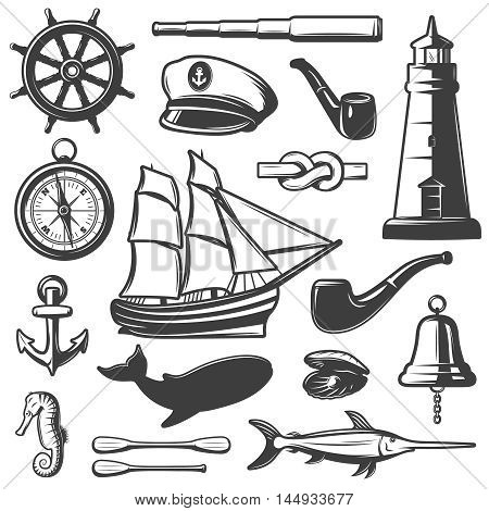 Nautical icon set captain attributes marine inhabitants and elements black and isolated vector illustration