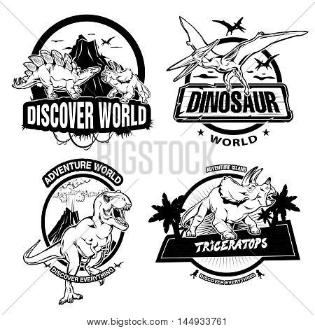 Dinosaurs black white emblems of museums or exhibitions with extinct animals and ancient nature isolated vector illustration