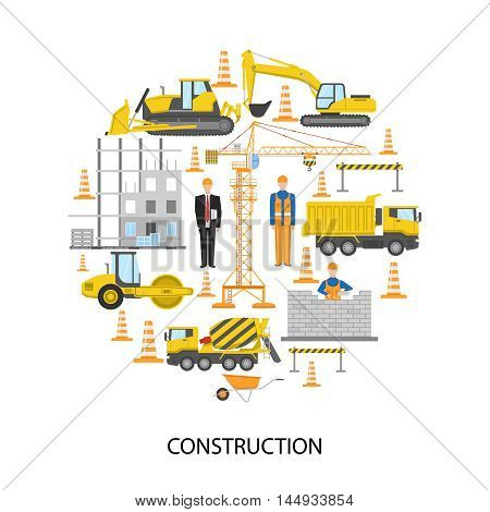 Construction round design with male staff building equipment brickwork barrier system on white background vector illustration