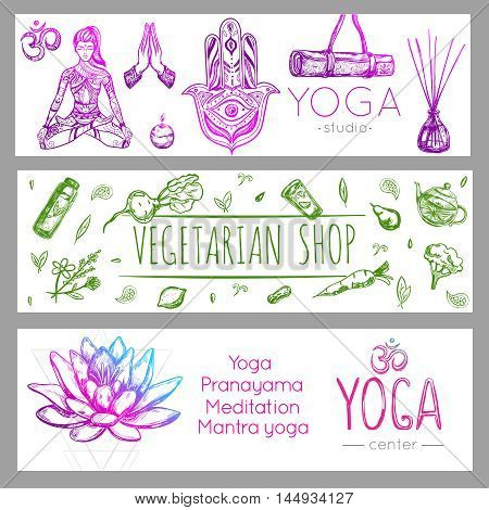 Three horizontal colored yoga banner set with yoga studio vegetarian shop and yoga center descriptions vector illustration