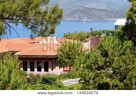Building of the luxury hotel on Turkish resort Fethiye Turkey