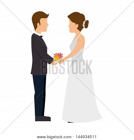 just married couple wedding man and woman celebration ceremony vector illustration
