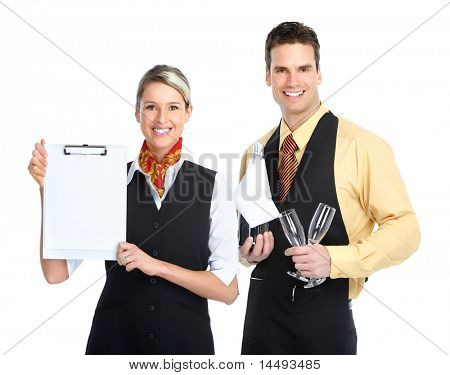 Young  smiling waiter man with a bottle of wine and glasses. Isolated over white background