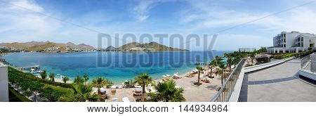 BODRUM TURKEY - MAY 21: The tourists enjoing their vacation in luxury hotel on May 21 2013 in Bodrum Turkey. More then 36 mln tourists have visited Turkey in year 2013