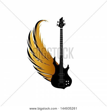Musical instrument sing. Metal fest music logo. Guitar silgouette with golden wing