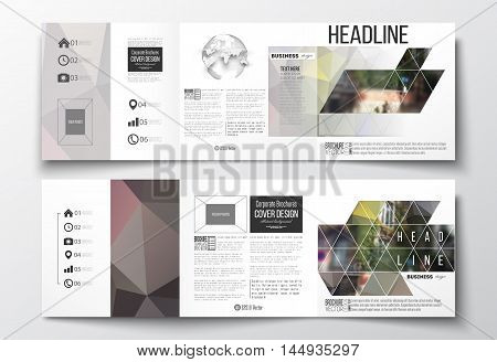 Vector set of tri-fold brochures, square design templates with element of world globe. Polygonal background, blurred image, urban landscape, street in Montmartre, Paris cityscape
